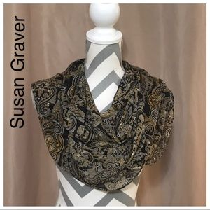 Susan Graver Black, Gold & Tan infinite scarf